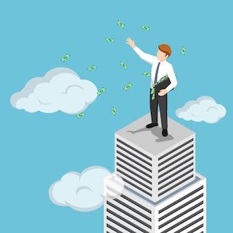 Flacher isometrischer 3d-milliardärsgeschäftsmann an der spitze des wolkenkratzers, der sein geld wirft. geschäftserfolgskonzept.