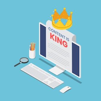Flacher isometrischer 3d-pc-monitor mit inhalt ist das königswort auf papier und krone. content-marketing-konzept.