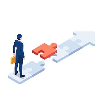 Flacher isometrischer geschäftsmann 3d, der auf puzzlespiel-pfeil mit letztem stück puzzle steht. geschäftslösung und karrierepfad-konzept.