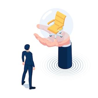 Flacher isometrischer geschäftsmann 3d, der leeren bürostuhl auf der großen hand betrachtet. einstellungs- und beschäftigungskonzept.