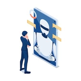 Flacher isometrischer geschäftsmann 3d, der mit chat-bot im smartphone spricht. chatbot online-kundensupport oder roboter-assistentenkonzept für künstliche intelligenz.