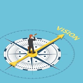 Flacher isometrischer geschäftsmann 3d mit fernglasteleskop auf kompass, der auf visionswort zeigt. geschäftsvisionskonzept.