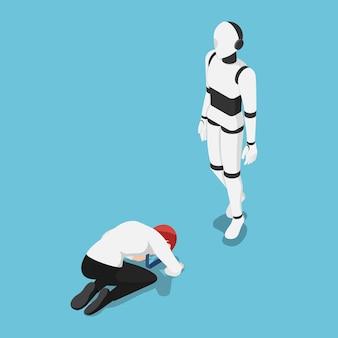 Flacher isometrischer geschäftsmann 3d vor ai-roboter niedergestreckt. künstliche intelligenztechnologie und ki regieren das weltkonzept.