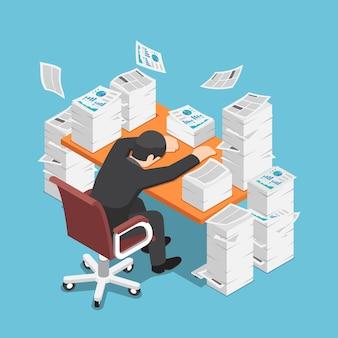 Flacher isometrischer müder geschäftsmann 3d, der am schreibtisch mit dem stapel des papierdokuments schläft. arbeiten sie hart konzept.
