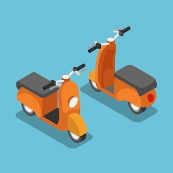 Flacher isometrischer orangefarbener 3d-roller oder -motorrad. fahrzeug- und transportkonzept.