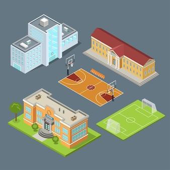 Flacher isometrischer satz von schulgebäuden, basketballfeld und fußballstadionillustration. kommunale bildungseinrichtungen. infografisches isometriekonzept der modernen stadtarchitektur.
