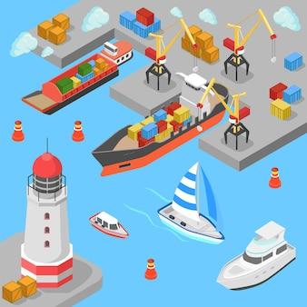 Flacher isometrischer seetransport frachtschifffahrt hafen dock hafen leuchtturm boot yacht