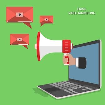 Flacher isometrischer vektor des video-e-mail-marketings.