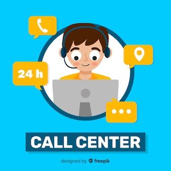Flacher junge, der in einem call-center-hintergrund arbeitet