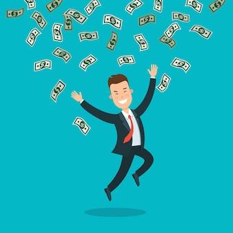 Flacher junger smileygeschäftsmann, der unter regen von geldbanknoten springt