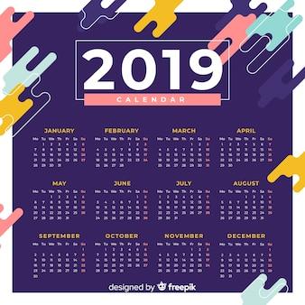 Flacher kalender für das neue jahr 2019