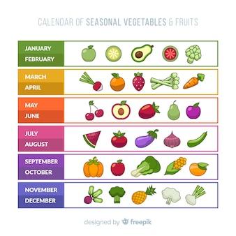 Flacher kalender mit gemüse und früchten der saison