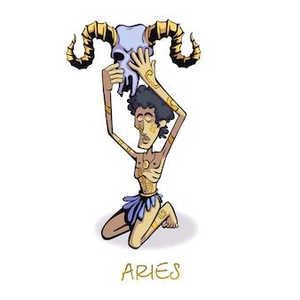 Flacher karikatur des widder-sternzeichenmannes. astrologisches symbol, person mit widderschädel. gebrauchsfertige 2d-zeichenvorlage für werbung, animation und druckdesign. isolierter comic-held