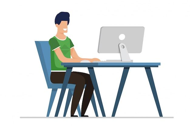Flacher karikatur-mann, der on-line-datierung auf computer hat