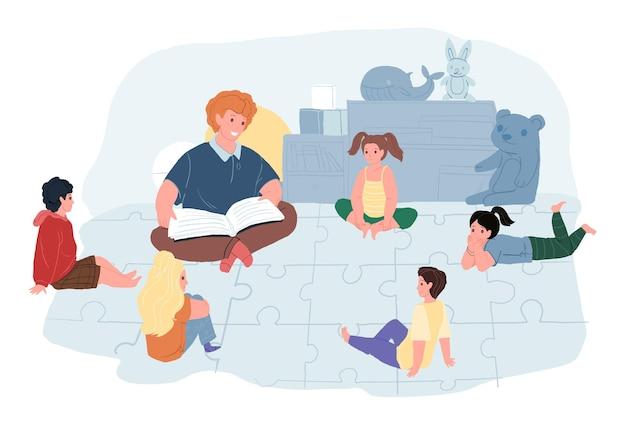 Flacher karikaturlehrer und kindercharaktere im kindergarten, vektorillustrationskonzept