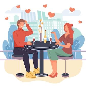 Flacher karikaturstil der liebenden, die qualitätszeit zusammen genießen