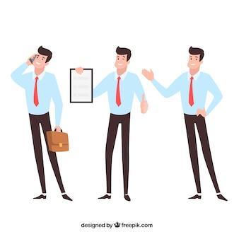 Flacher karikaturverkäufer in den verschiedenen positionen