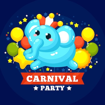 Flacher karneval mit ballonen