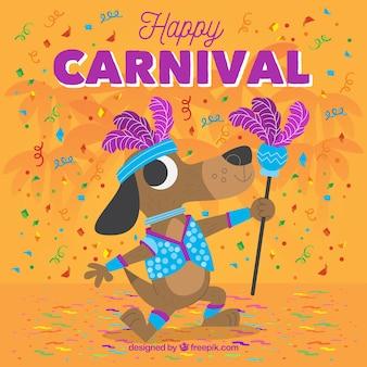 Flacher karnevalshintergrund mit illustration