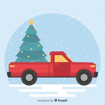 Flacher kleintransporter mit weihnachtsbaum