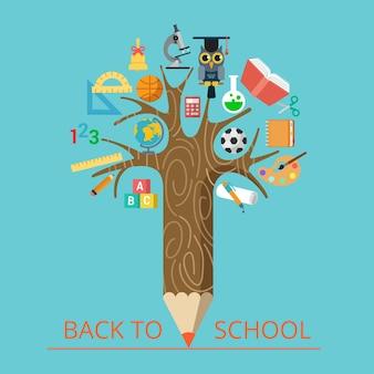 Flacher konzeptioneller bleistiftbaum mit illustration der wissenschafts- und klassentypen. bildung, zurück zum schulkonzept. ikonen für mathematik, lesen, literatur, chemie, geographie, sport, biologie und malerei.