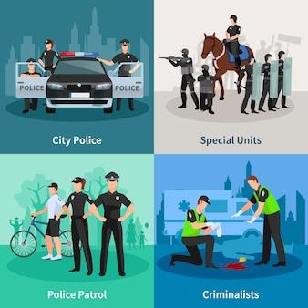 Flacher konzeptsatz der polizeileute von spezialeinheiten-kriminalisten der stadtpolizei und polizeistreife-designzusammensetzungen vector illustration