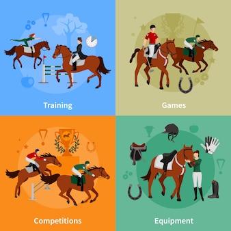 Flacher konzeptsatz des steigenden sports des pferds von jockeyausrüstungstrainingspielwettkämpfen entwerfen zusammensetzungs-vektorillustration