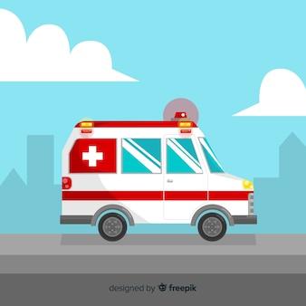 Flacher krankenwagen