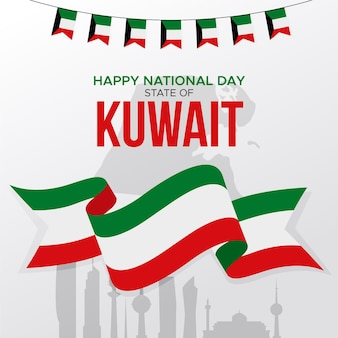 Flacher kuwait-nationalfeiertag