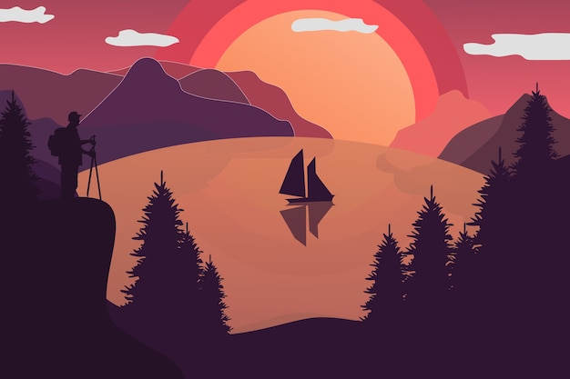 Flacher landschaftssonnenuntergang auf dem see