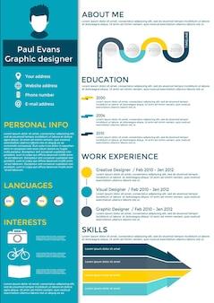 Flacher lebenslauf infografik design. lebenslauf mit infografiken und zeitleiste fortsetzen. sauberer vektor