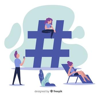 Flacher leutesocial media-hashtag symbolhintergrund