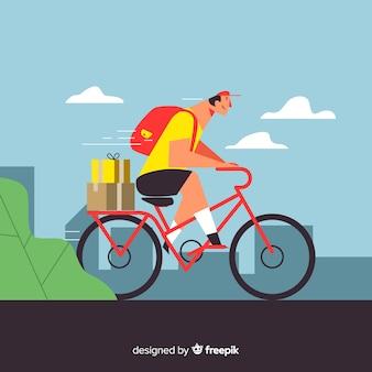 Flacher lieferjunge auf fahrradhintergrund
