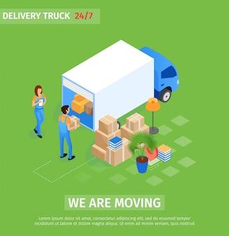 Flacher lieferwagen, wir bewegen beschriftung.