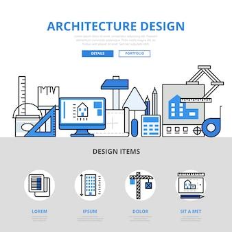 Flacher linienstil des architekturentwurfskonzepts. drucksachen