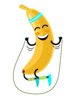 Flacher lustiger bananencharakter, der am seil springt. fröhliche frucht macht übungen mit springseil. isolierte illustration auf einem weißen hintergrund. gesundes, sportliches lifestyle-konzept