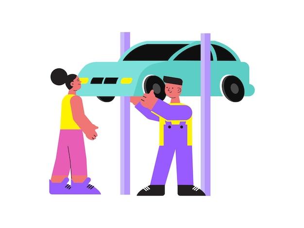 Flacher männlicher mechaniker, der frau mit auto hilft