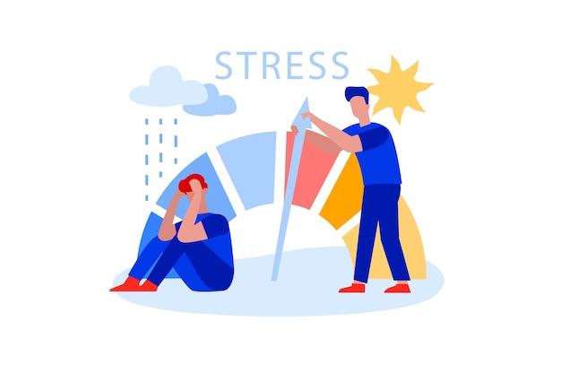 Flacher mann, der das stressniveau reduziert und mit dem pfeil der krise kämpft