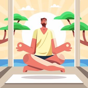 Flacher mann, der mit der natur meditiert