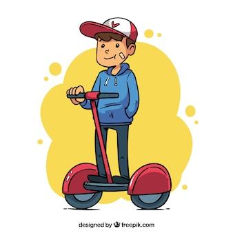 Flacher mann / frau, die elektrischen roller fährt