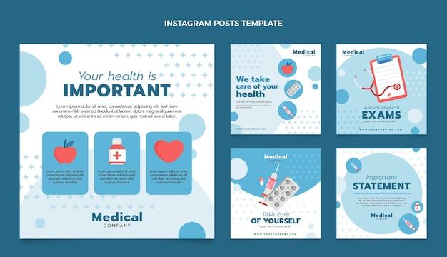 Flacher medizinischer instagram-post