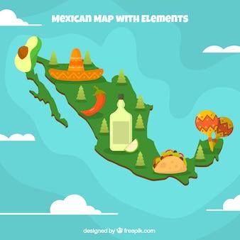 Flacher mexikanischer kartenhintergrund mit elementen