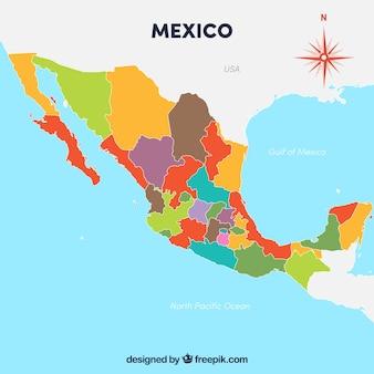 Flacher mexiko-kartenhintergrund