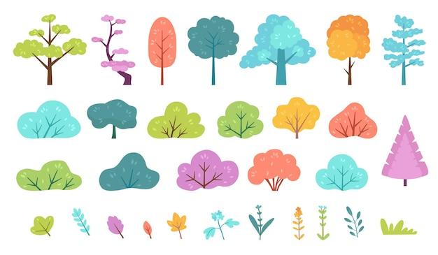 Flacher, minimaler busch, strauch, baum, gras, wildpflanze und blume. karikaturwald, wiese, park oder garten, frühlingslandschaftselemente-vektorsatz