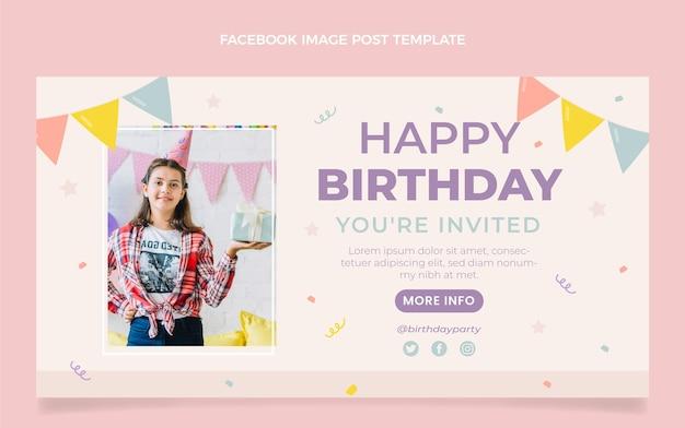 Flacher minimaler geburtstags-facebook-post