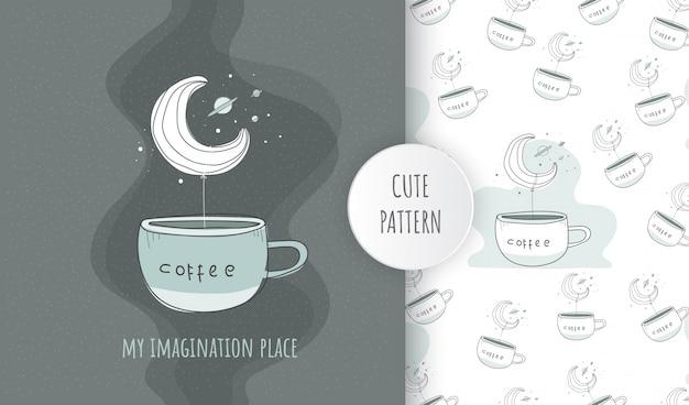 Flacher nahtloser musterillustrationsnachthimmel mit kaffeetasse