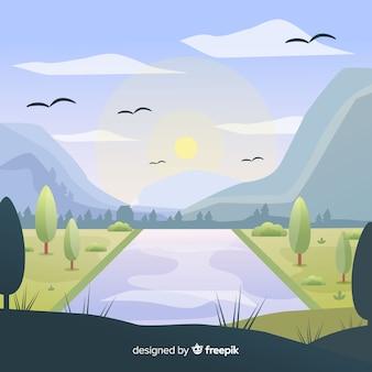 Flacher natürlicher hintergrund mit landschaft