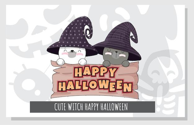 Flacher netter satz der glücklichen halloween-illustration des kätzchenhexencharakters für kinder