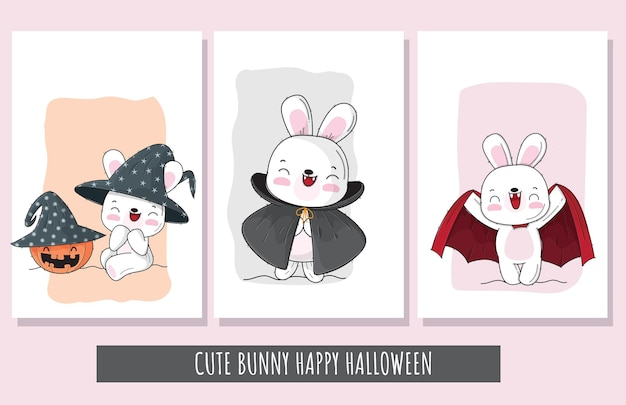 Flacher netter satz häschen glückliche halloween-charakterillustration für kinder