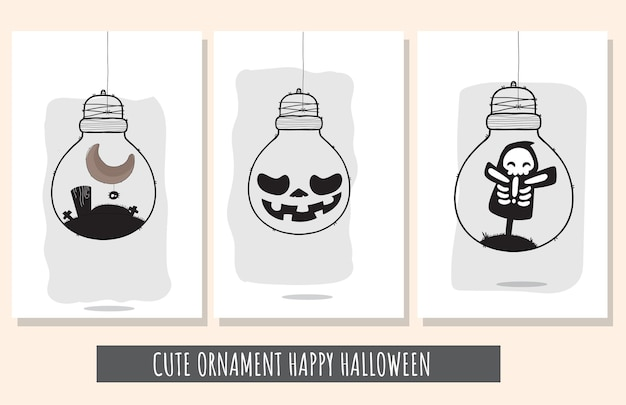 Flacher netter satz illustrationen glückliches halloween